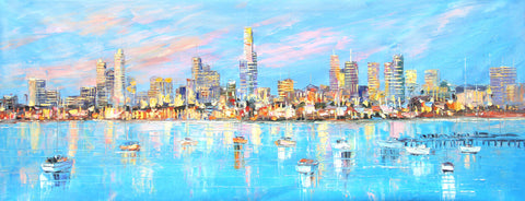 Melbourne City - View from St Kilda (Limited Edition) Oil Painting Canvas Art