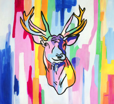 Neon Deer Oil Painting Canvas Art