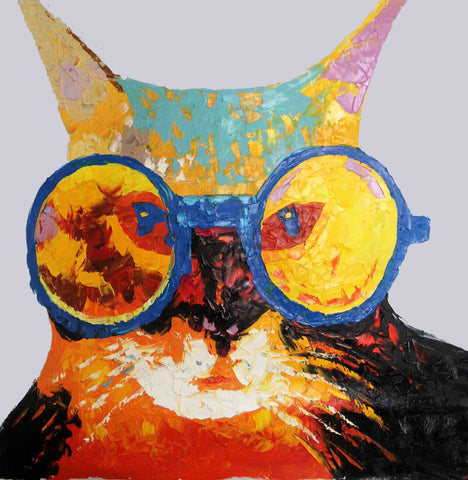 Pop-Cat Oil Painting Canvas Art