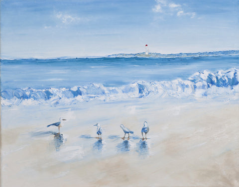 Seaside with sea gulls (Limited Edition) Oil Painting Canvas Art