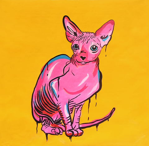 Sphynx Cat 2016 (Pop Art) Oil Painting Canvas Art