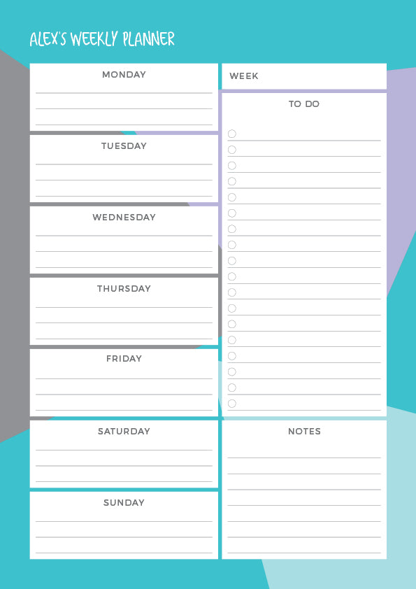 Cool Geometric - Weekly Planner Notepad