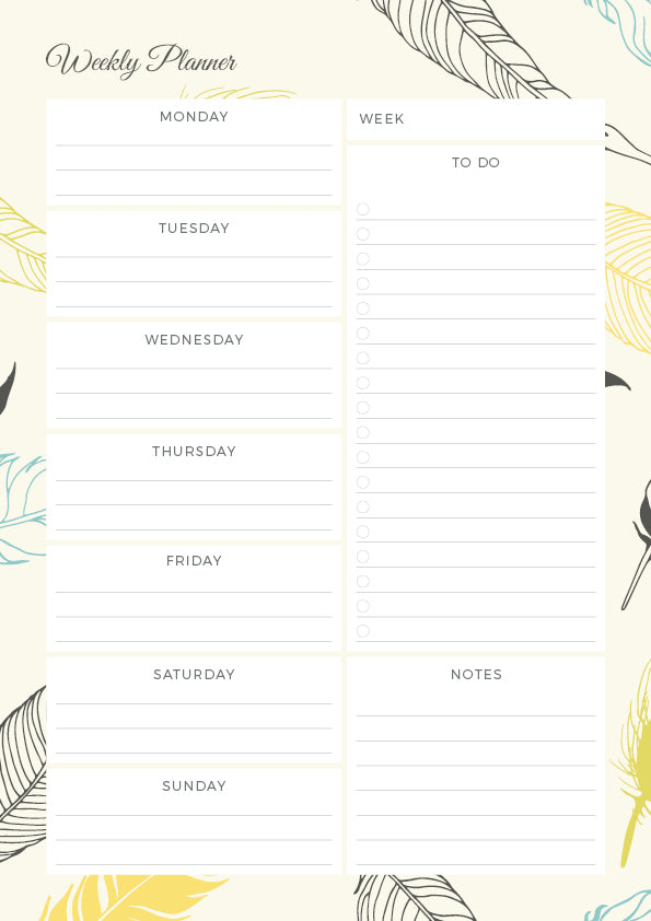 Light as a Feather - Weekly Planner Notepad