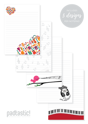 Music Mixed Design Notepad [Lined]