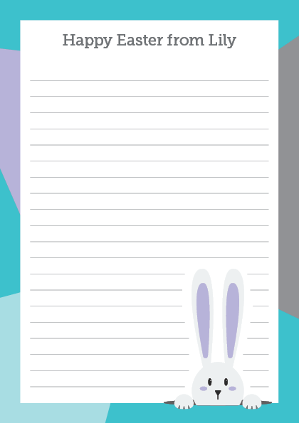 Peek-a-Bunny Easter personalised A5 notepad