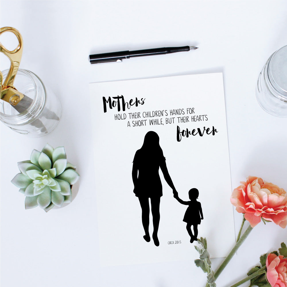 Printable Custom Silhouette + Quote - Mother Forever