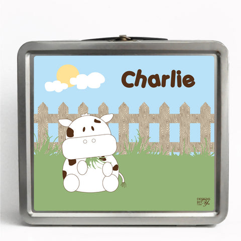 Personalized Tin Lunch Box - Cow