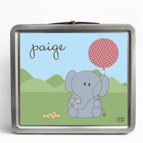 Personalized Tin Lunch Box - Elephant