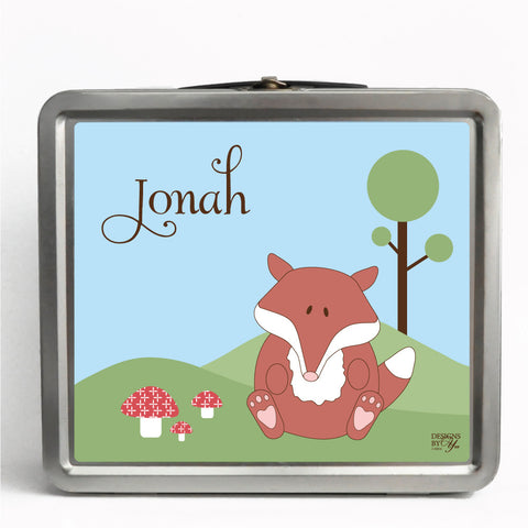 Personalized Tin Lunch Box - Fox