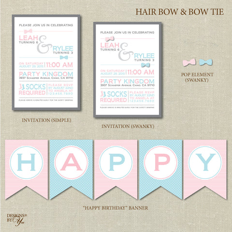 Birthday Printables - Hair Bow & Bow Ties