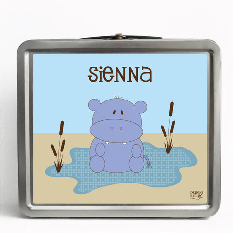 Personalized Tin Lunch Box - Hippo