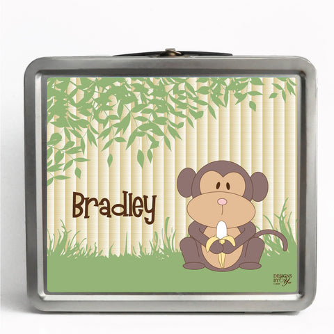 Personalized Tin Lunch Box - Monkey
