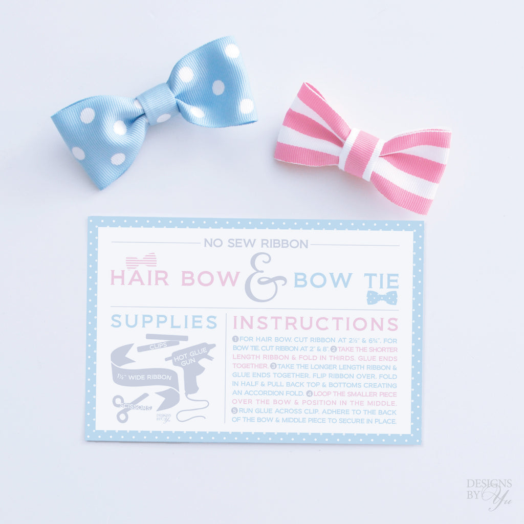 Project Card No Sew Ribbon Hair Bow And Bow Tie Designs By Yu