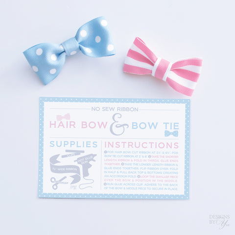 Project Card - No Sew Ribbon Hair Bow and Bow Tie