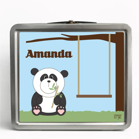 Personalized Tin Lunch Box - Panda