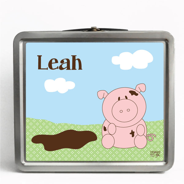 Personalized Tin Lunch Box - Pig