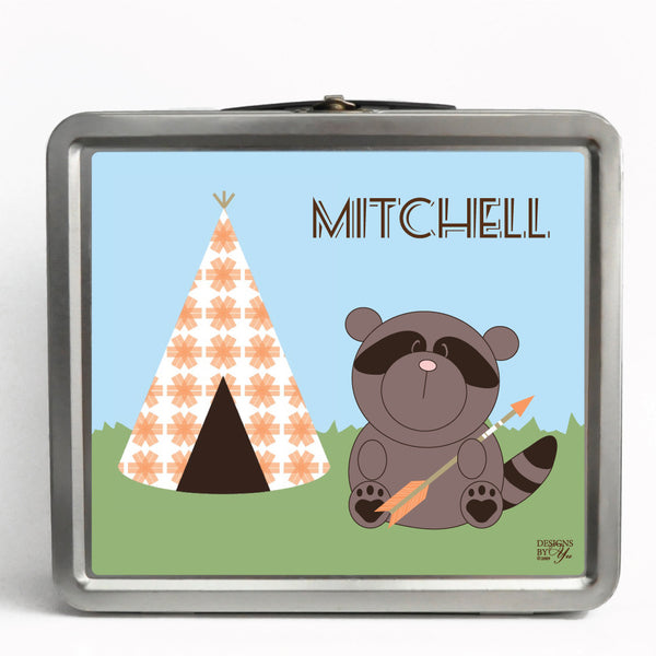 Personalized Tin Lunch Box - Raccoon