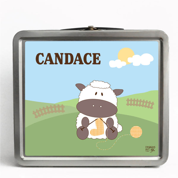 Personalized Tin Lunch Box - Sheep