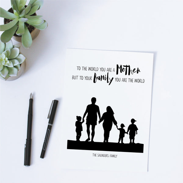 Printable Custom Silhouette + Quote - Mother, You Are The World