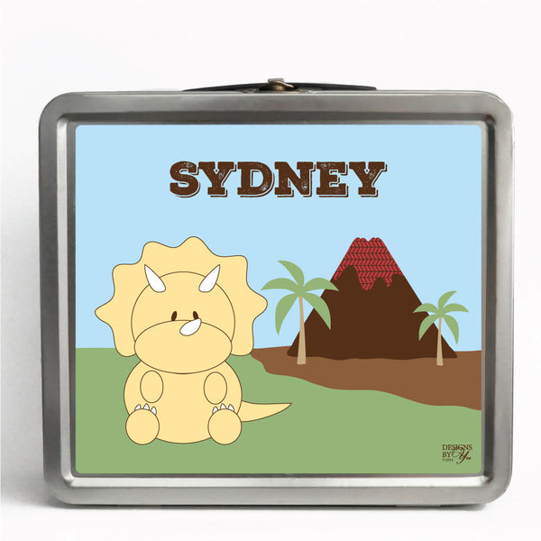 Personalized Tin Lunch Box - Triceratops