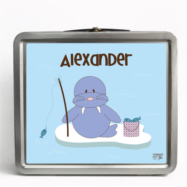 Personalized Tin Lunch Box - Walrus