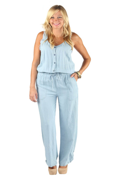 Sleeveless V-Neck Denim Jumpsuit