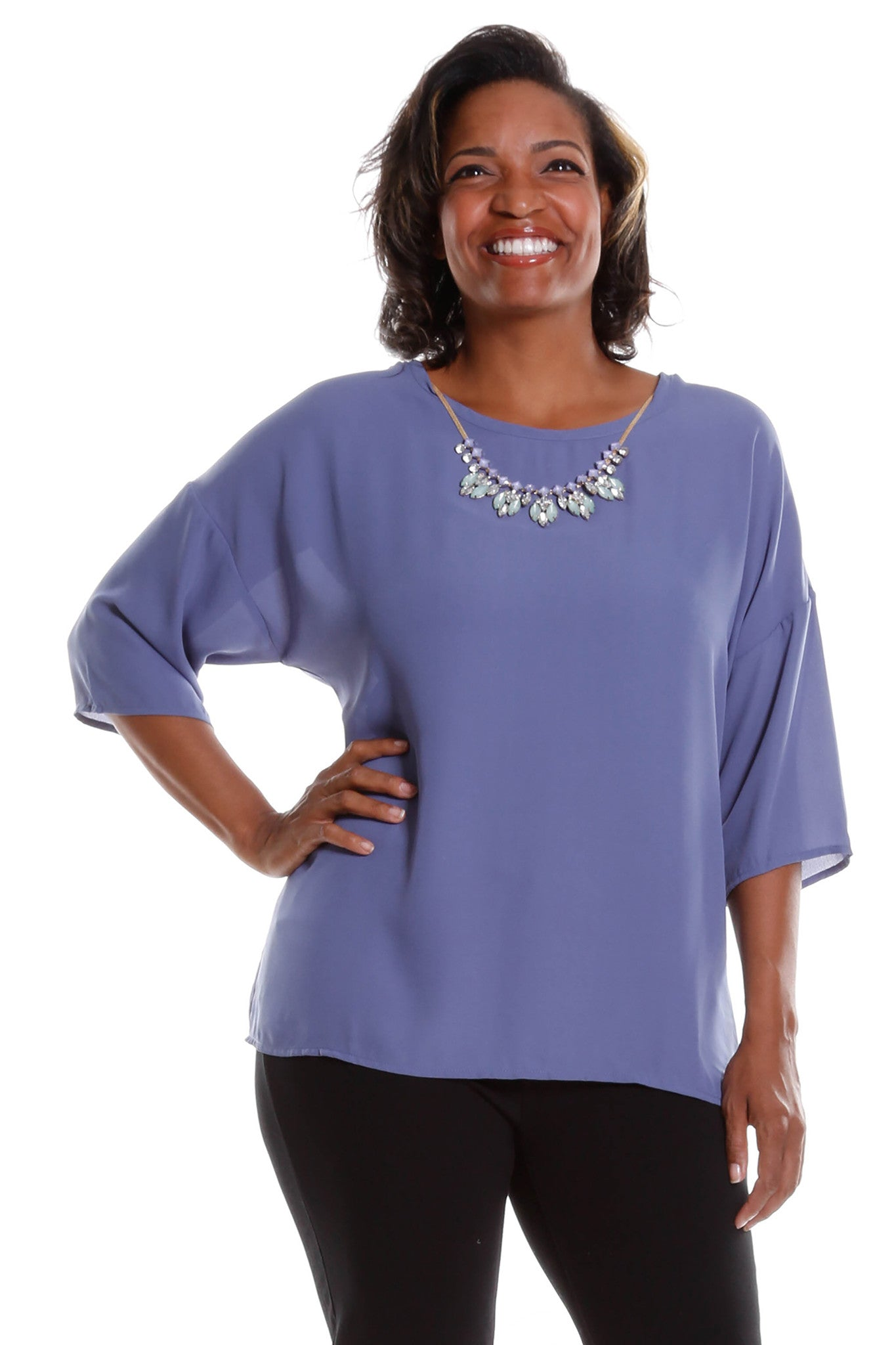 Plus Size Casual 3/4 Sleeve Blouse