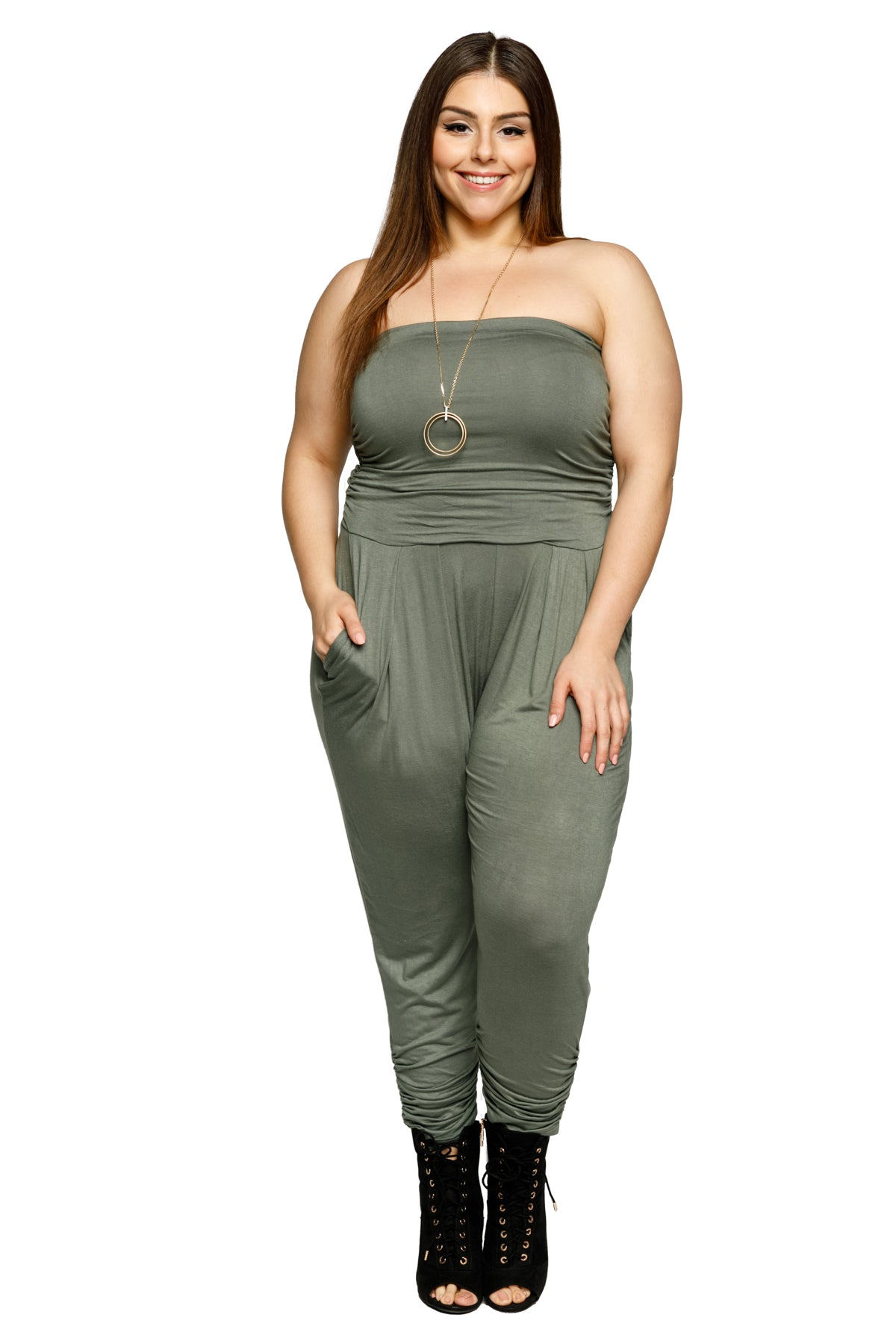 Plus Size Strapless Tube Pleated Front Jumpsuit