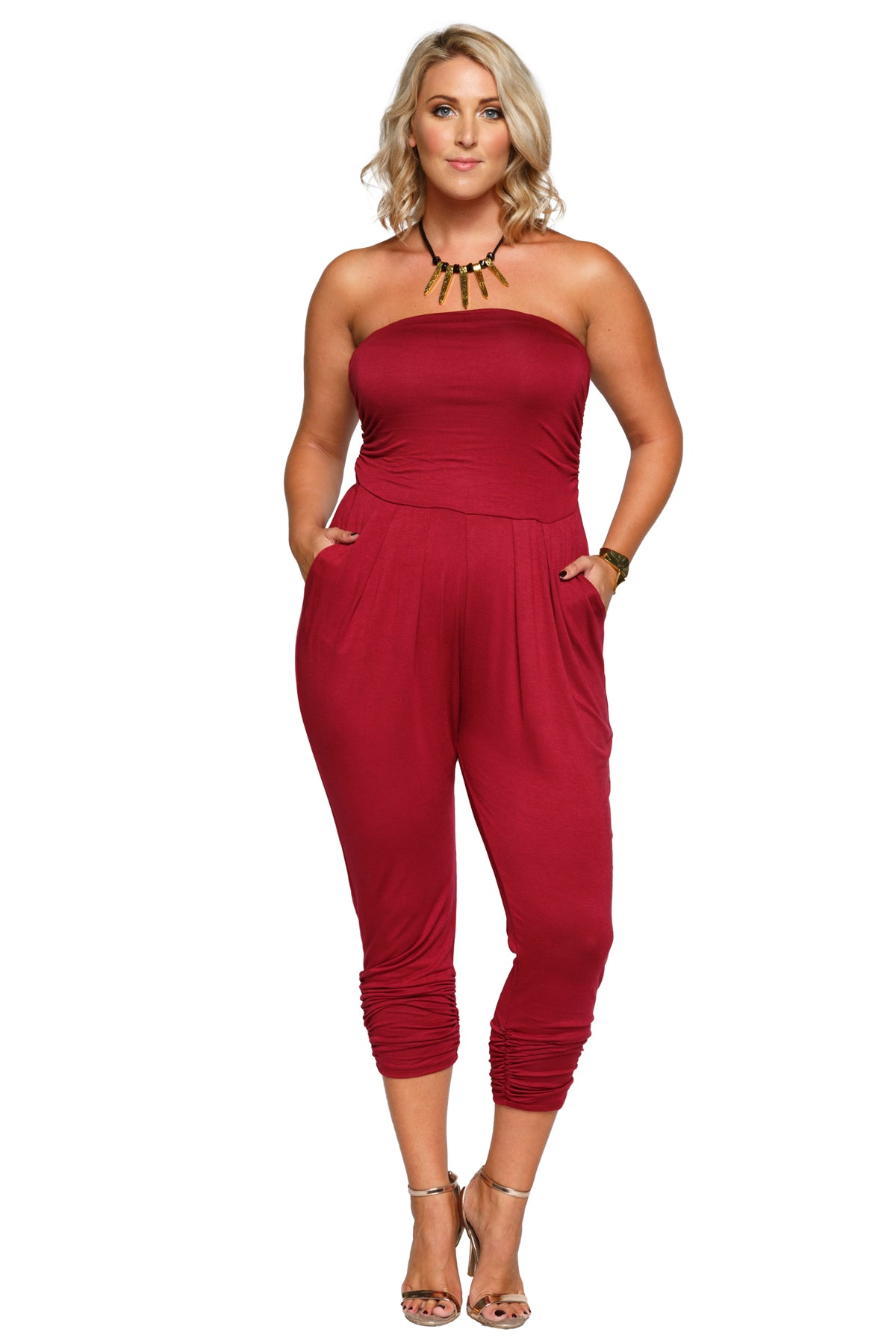 Plus Size Strapless Tube Pleated Front Jumpsuit Romper