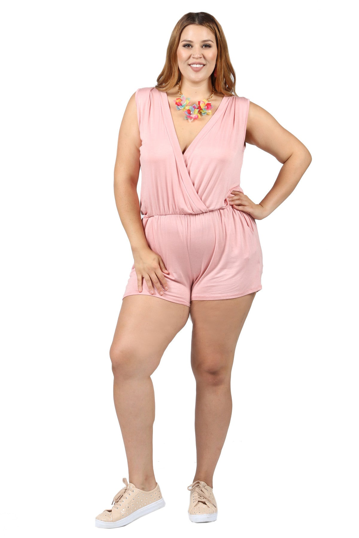 Plus Size Sleeveless Loose Ruched Short Rompers