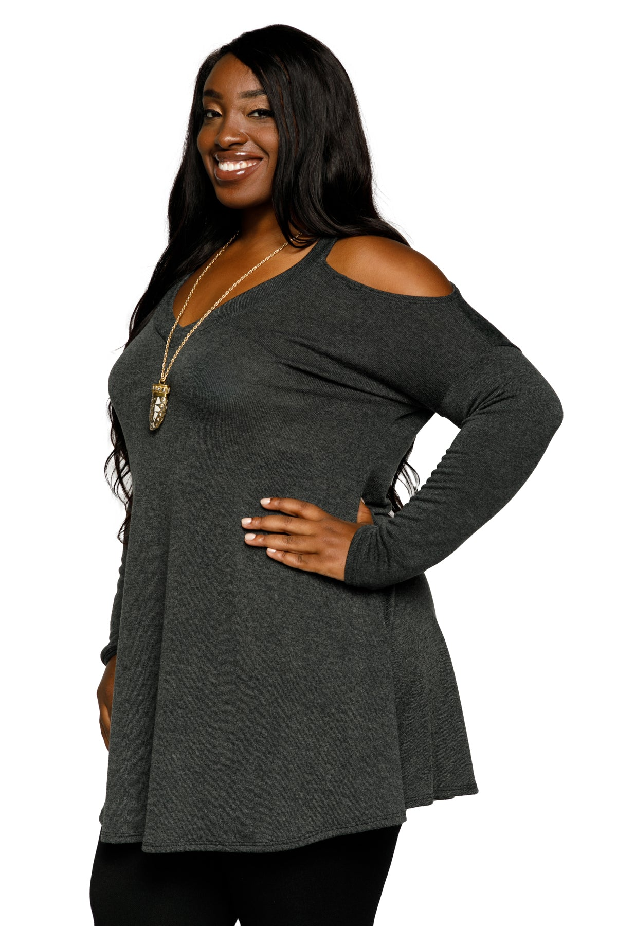 Plus Size V-Neck Cold Shoulder Tunic Blouse Top