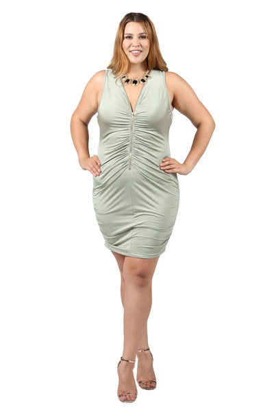 Plus Size Ruched Zip Up Front Sleeveless Dress