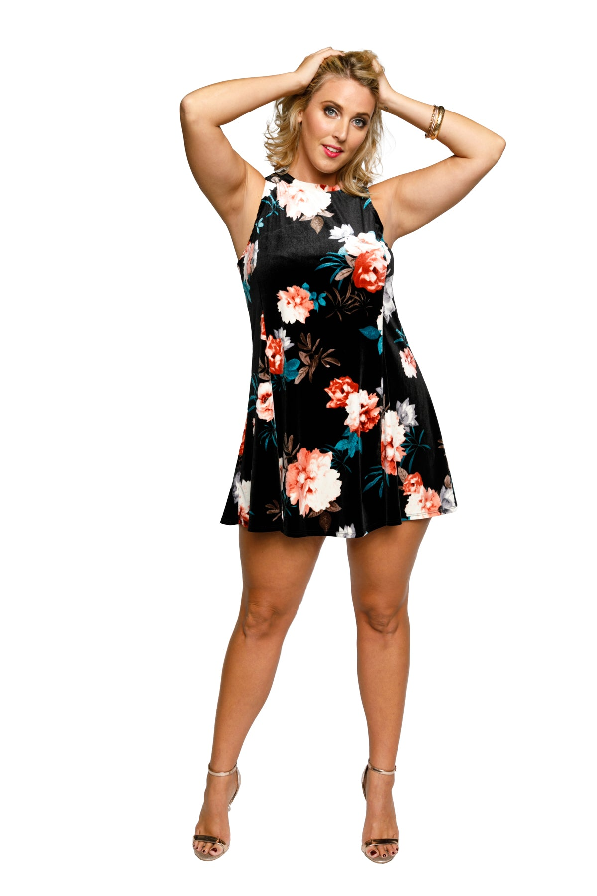 Plus Size Floral Velvet Skater Party Dress
