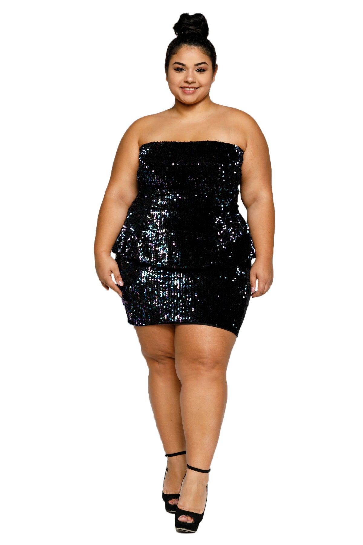 Plus Size Sequin Front Velvet Back Tube Top