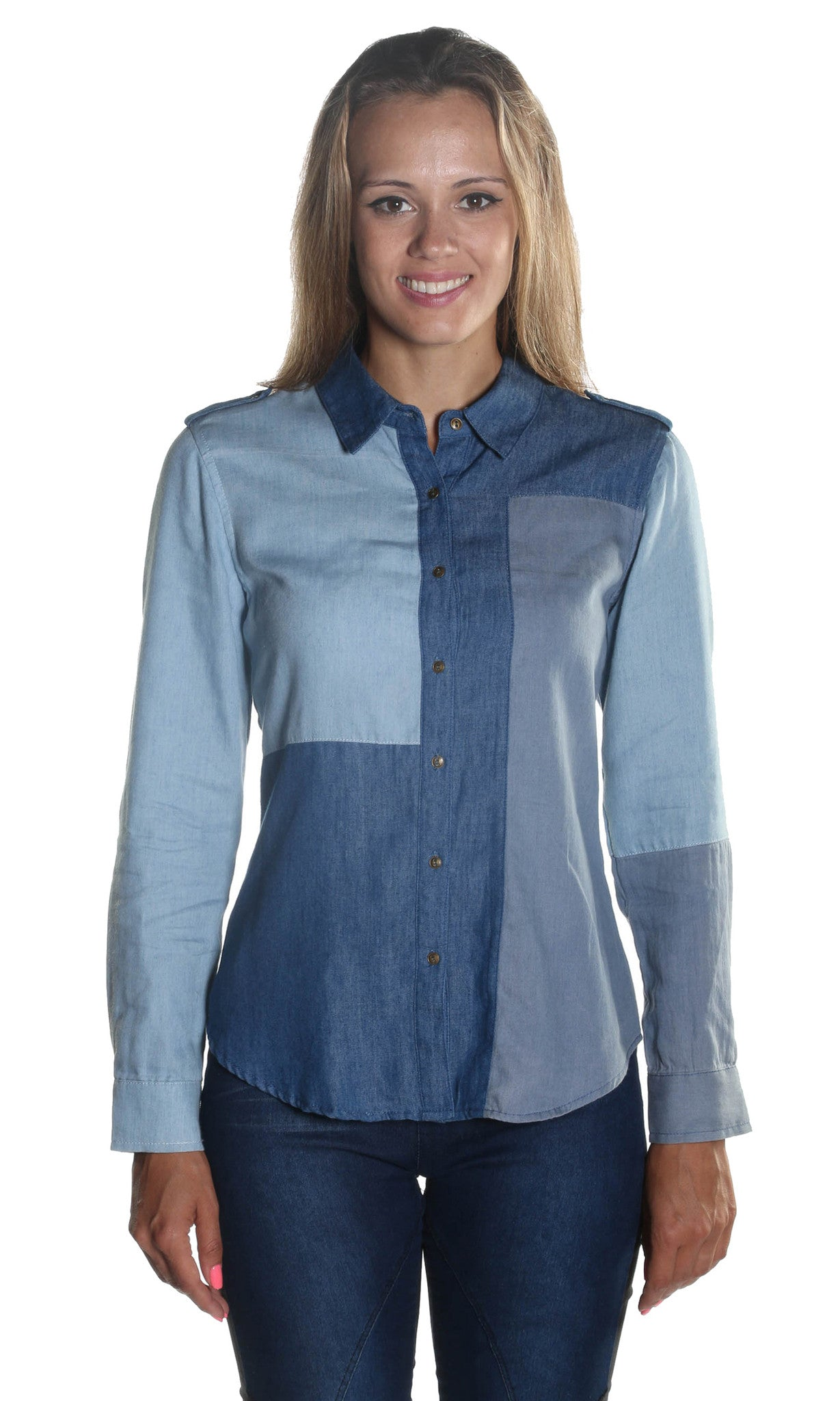 Patched Denim Blouse