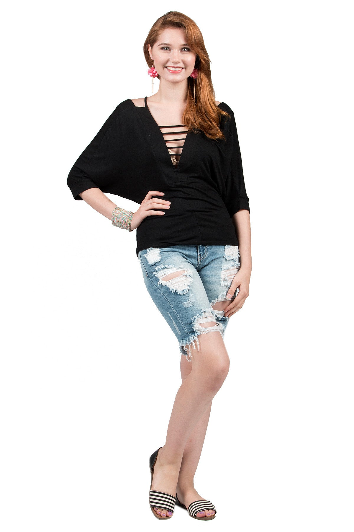 Casual Deep V-Neck Tunic Blouse Top