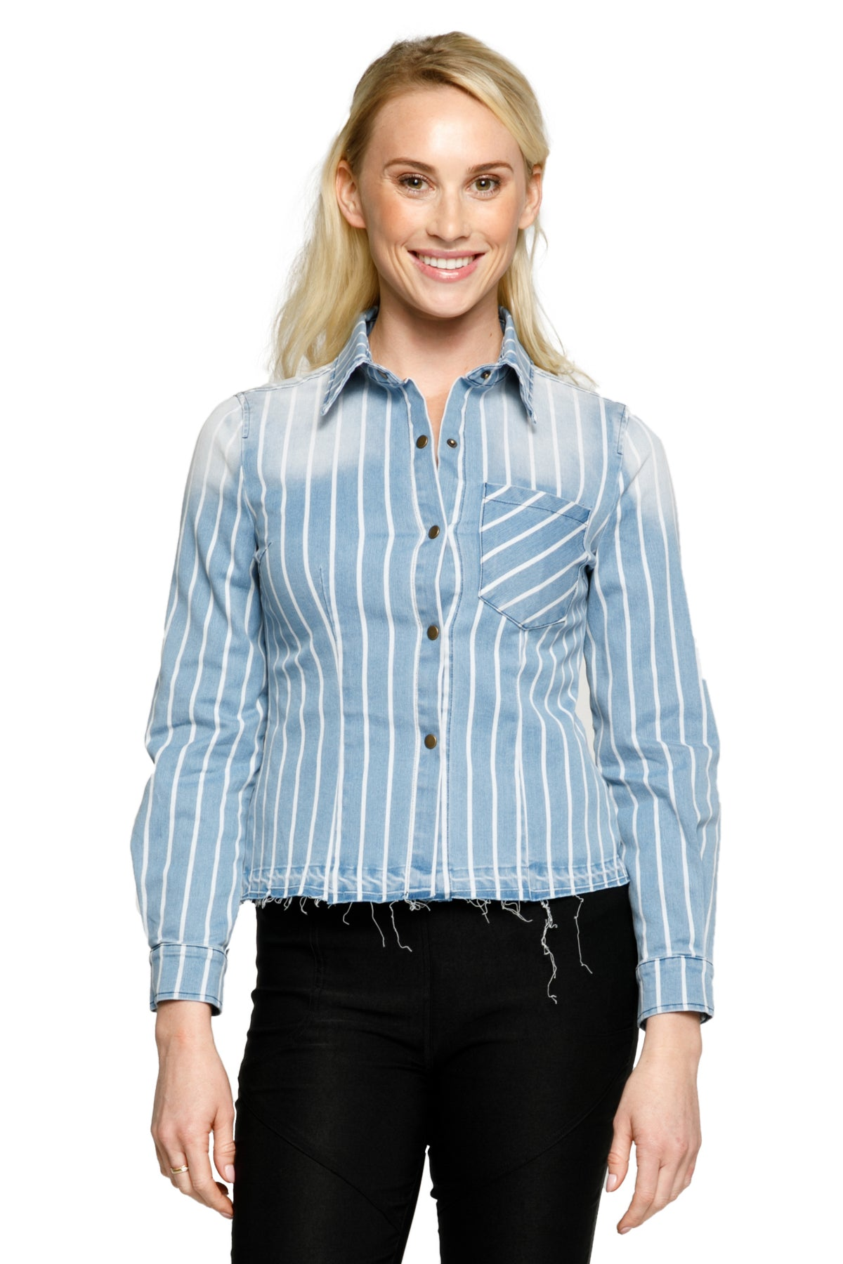 Casual Collared Stripe Top