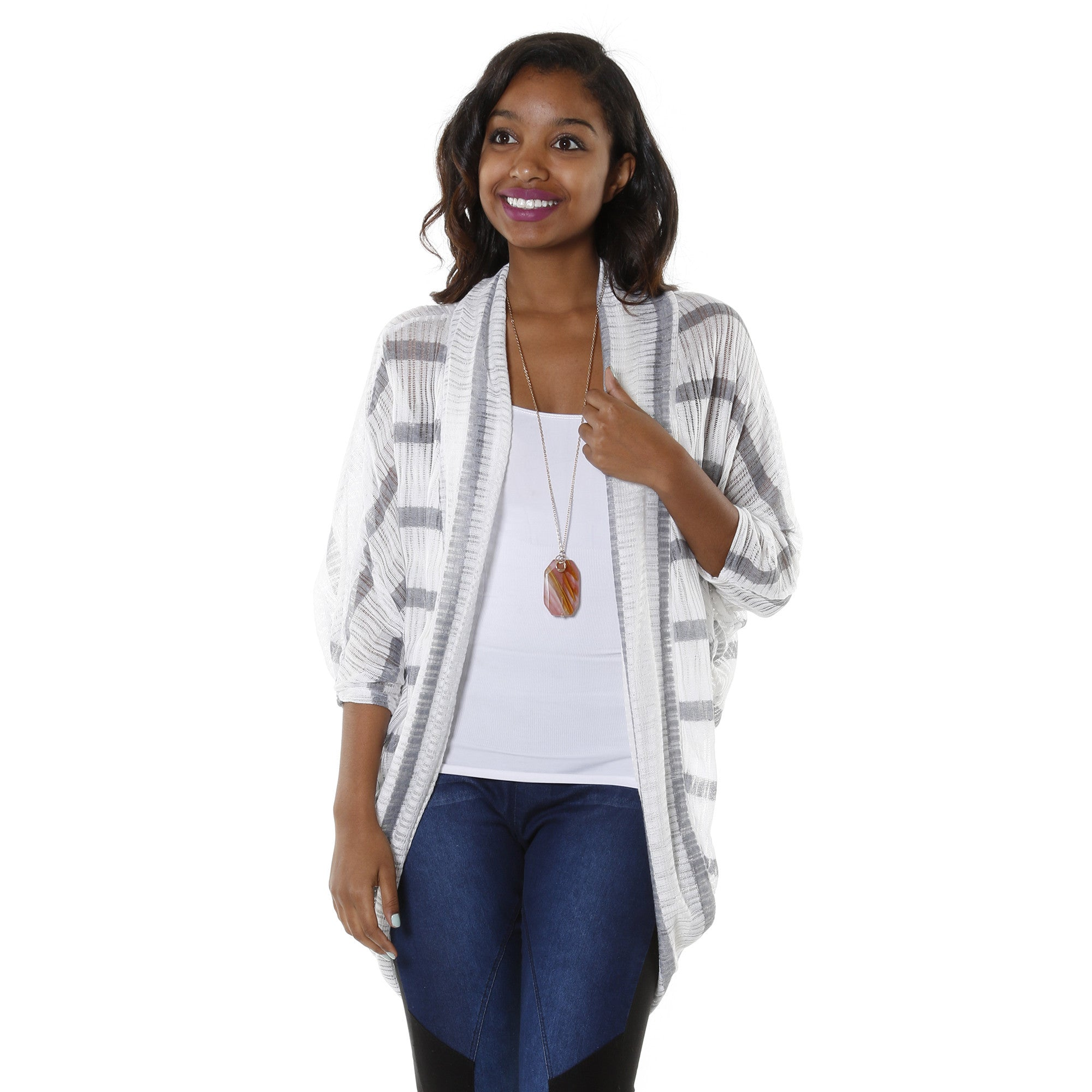 Open Front Stripe Cardigan