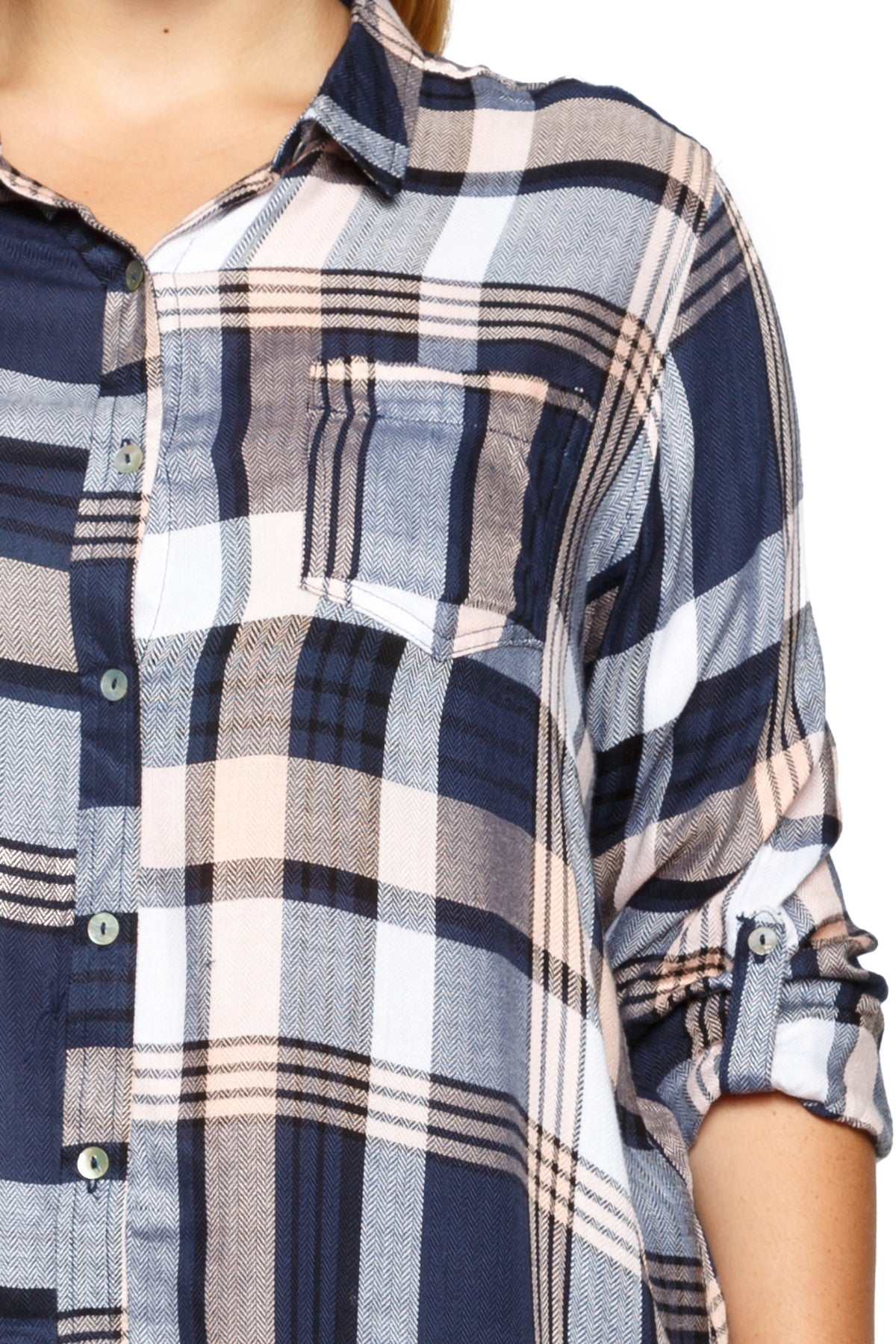 Casual Roll Up Sleeve Plaid Button Down Shirt