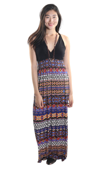 Casual V-Neck Maxi Dress Paisley Print