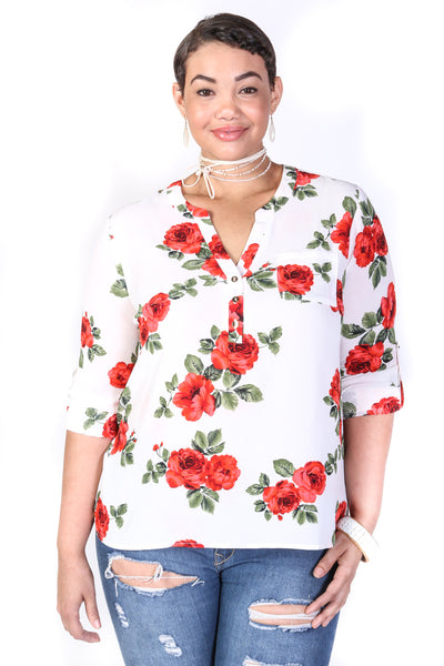 Women's Plus Size Casual Flower Print Top