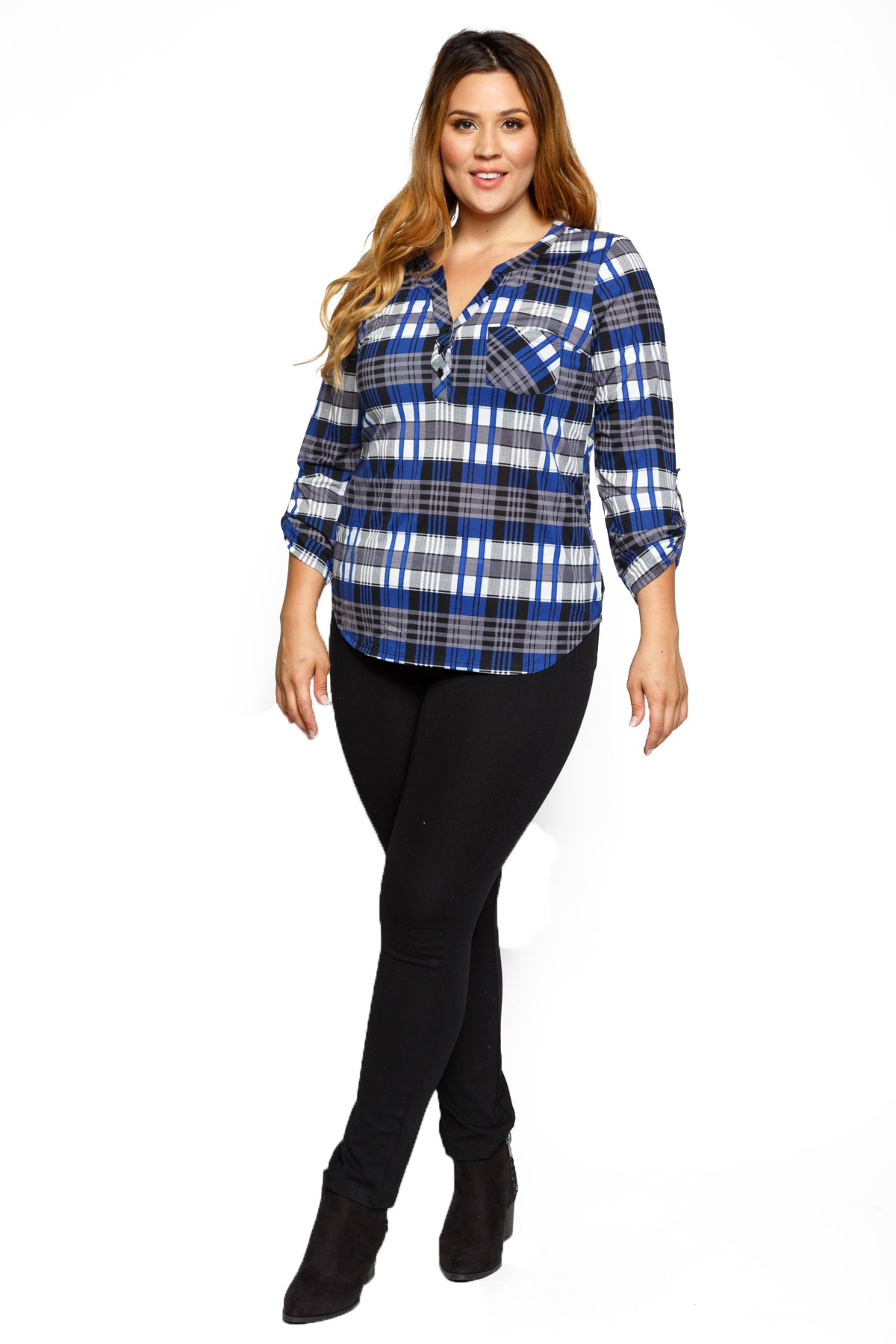 Roll Up Sleeve Casual Plaid Button Down Shirt