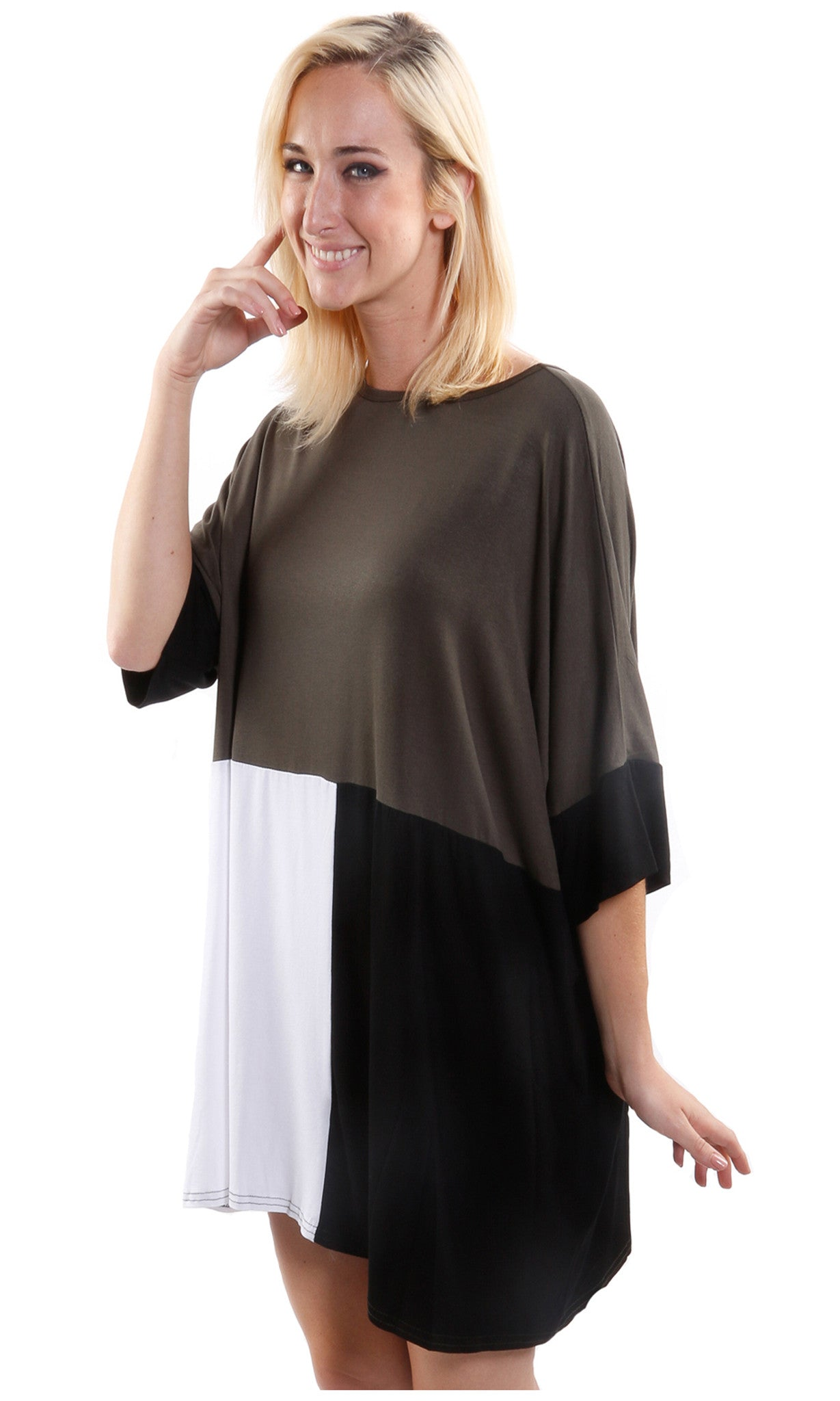 Color Block Loose Fitting Tunic