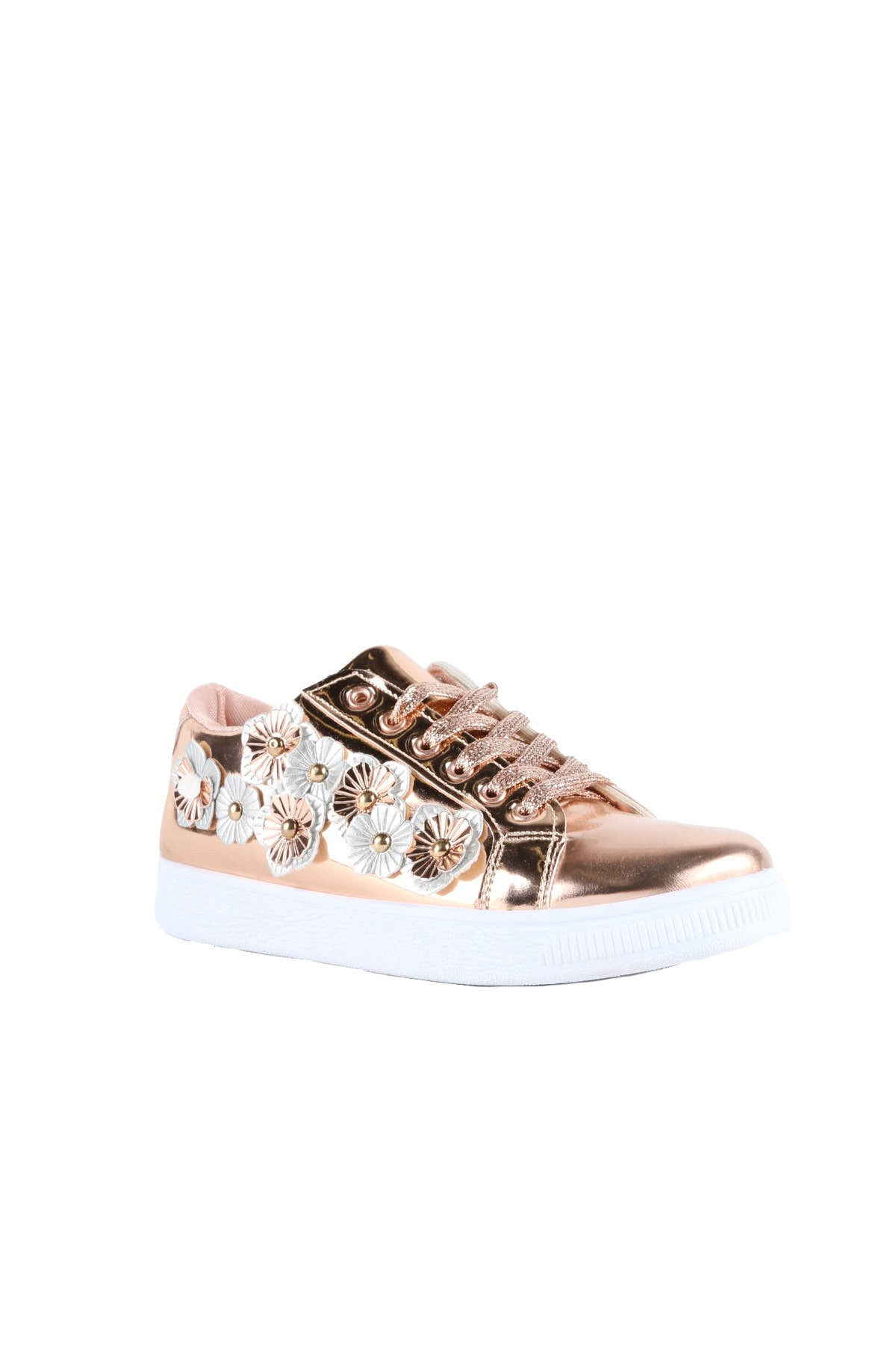 Metallic Flower Lace Up Sneaker