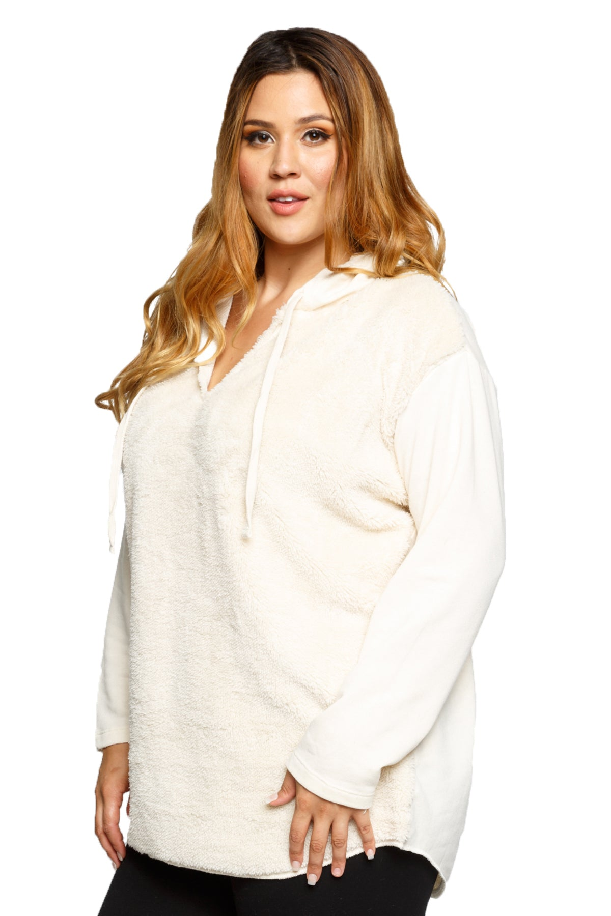 Plus Size Stylish Pullover Hooded Tunic Sweater