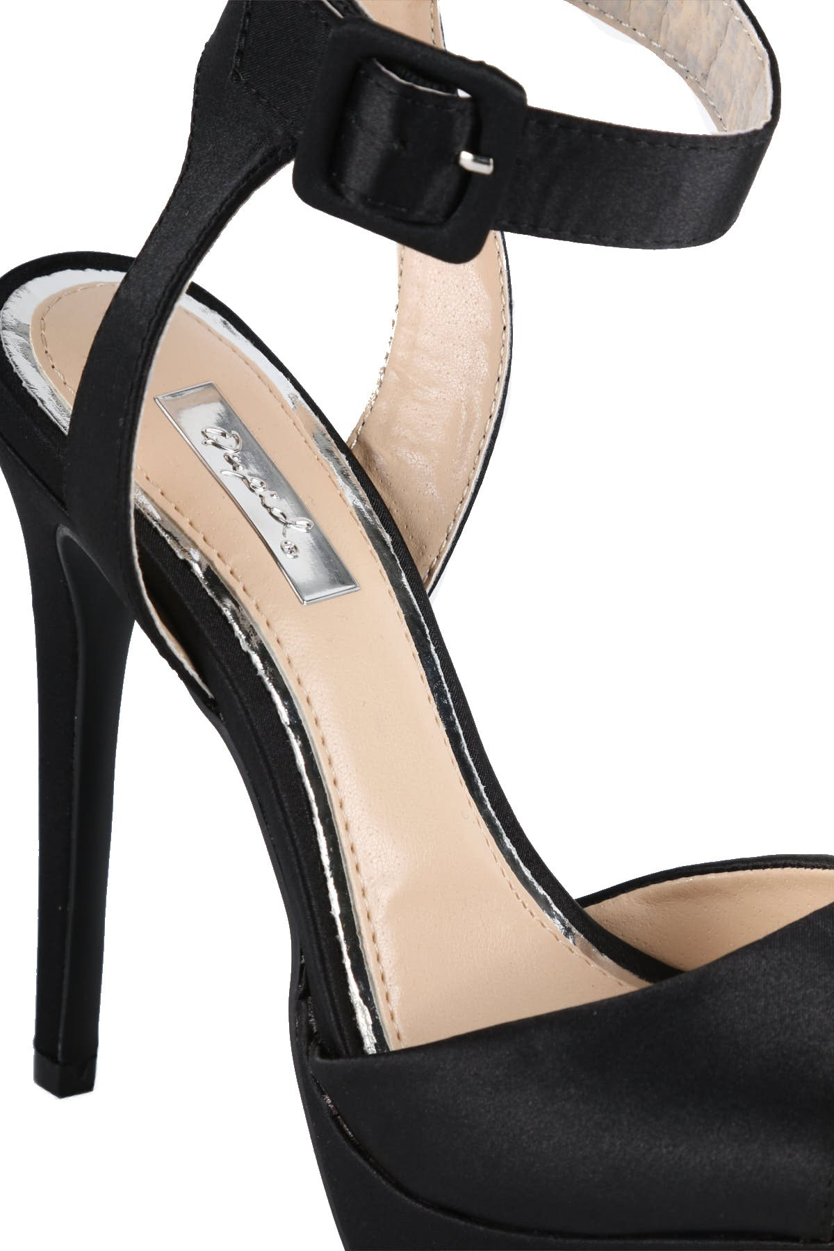 Ankle Strap Open Toe Satin Heel