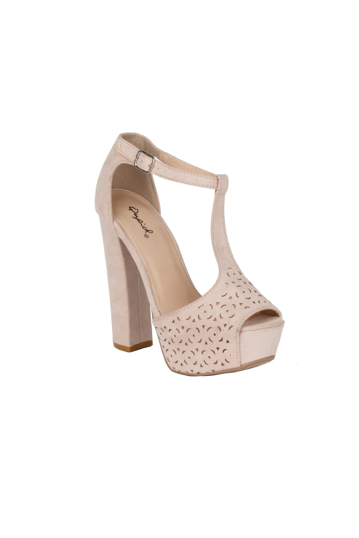 Block High Heel Ankle T-Strap Sandal