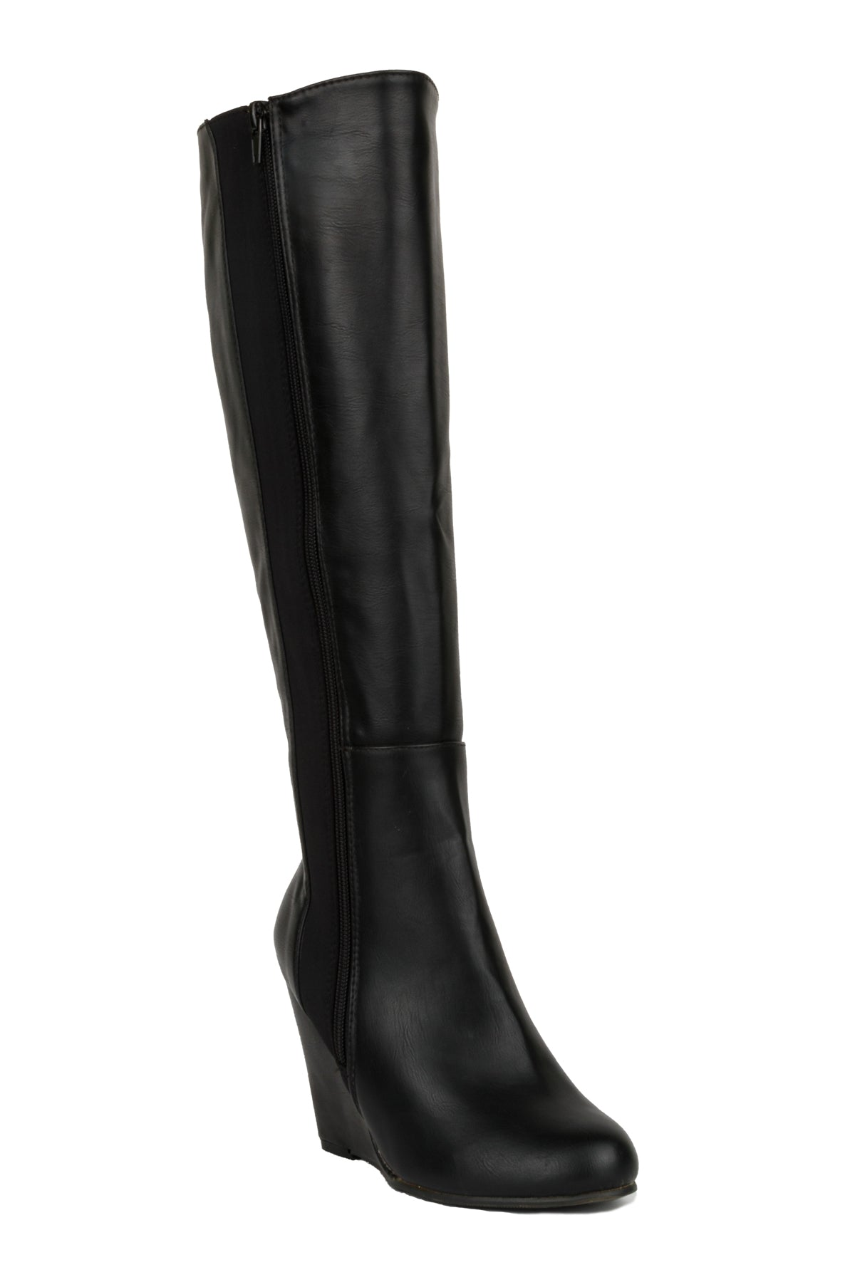 Faux Leather Platform High Wedge Side Zipper Boots