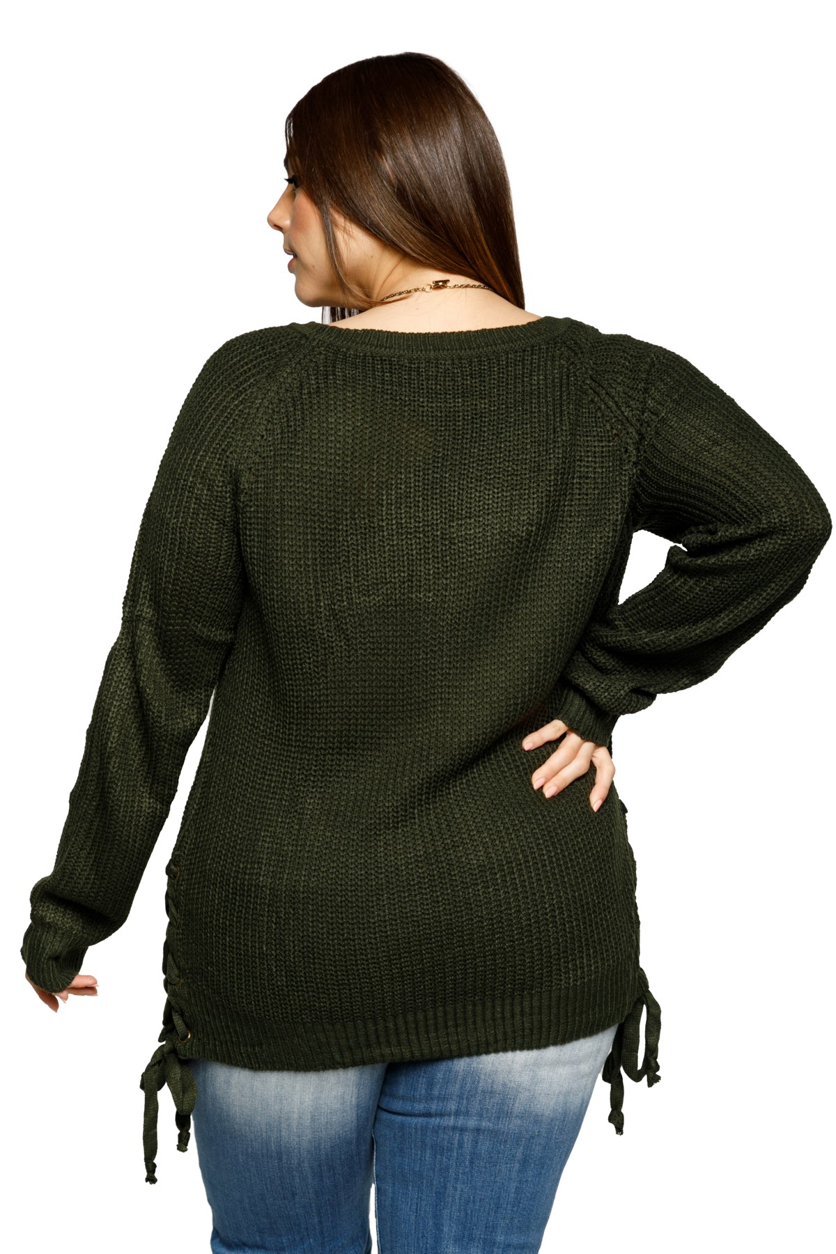 Plus Size Side Lace Up Grommet Tunic Sweater