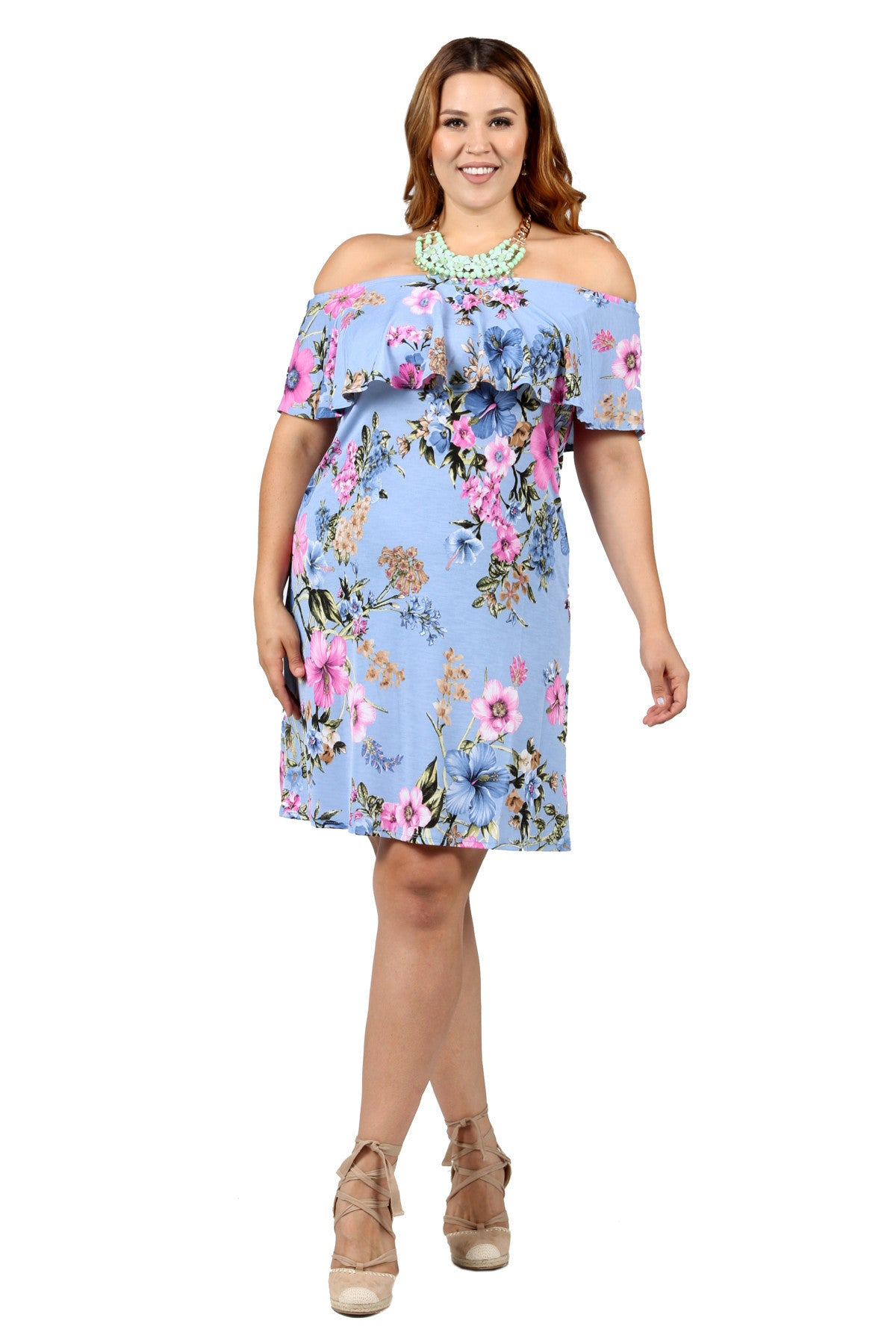9f30924dca7a Xehar Women s Plus Size Off Shoulder Ruffle Floral Print Dress – Hadari  Online